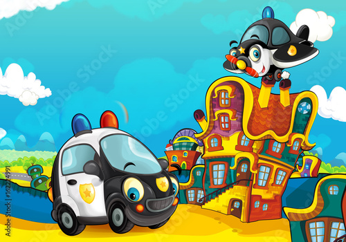 Cartoon police car smiling and looking in the parking lot and plane flying over - illustration for children - 162224991