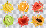 Orange, kiwi fruit, banana, tomato, watermelon, papaya juice. Fresh fruits and splashes, 3d vector icon set - 162226532