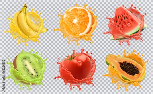 Pomarańczowy, kiwi, banan, pomidor, arbuz, sok z papai. Świeże owoc i pluśnięcia, 3d ikony wektorowy set