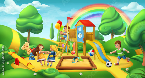 Children playground. Nature landscape. Park 3d vector panorama