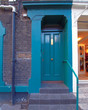 London Notting Hill, colorful blue green entrance door