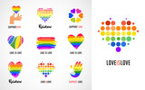 Gay, LGBT collection of symbols, icons and logos with rainbow, heart hands - 162230346