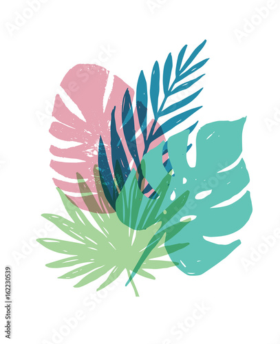Summer, Tropical Paradise, beach, background with palm leaves - 162230539