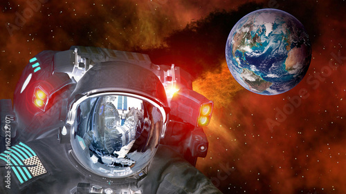 Foto op Canvas UFO Astronaut planet Earth spaceman helmet ufo space martian alien et extraterrestrial. Elements of this image furnished by NASA.