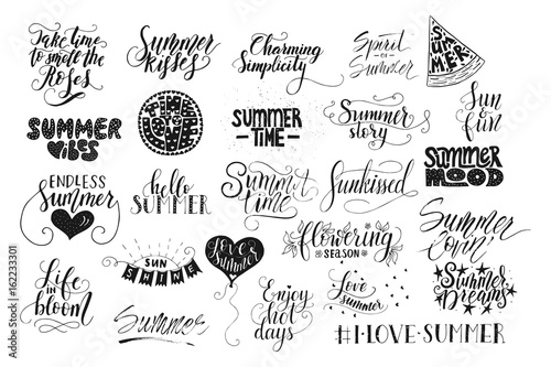 Big Bundle Of 25 Vector Hand Drawn Summer Quotes Handwritten With