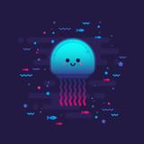 Cute cartoon jellyfish character