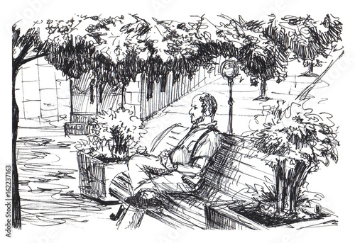 Man is sitting on bench in park. Man is resting on bench in small European town. Ink sketch.