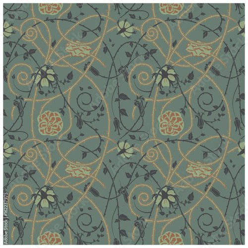 medieval floral pattern on a dark background. braided ornaments and swirls. Thorny plant elements over all the composition.  - 162237975