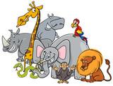 cartoon safari animals group
