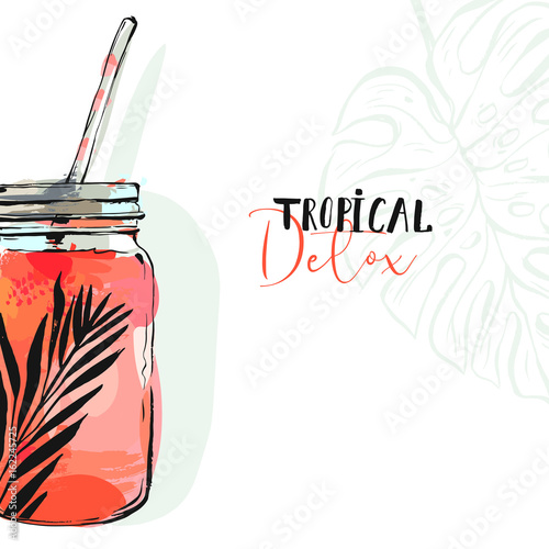 Hand drawn vector abstract artistic cooking illustration of strawberry tropical lemonade shake drink in glass jar isolated on white background.Diet detox concept - 162245725