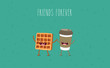 Breakfast. Funny characters coffee, croissant, donut. Best friends set. Vector illustration - 162252782