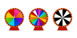 Vector set of isolated realistic fortune roulette wheels on the white background. Concept of casino, spin, lottery and winning. - 162253598