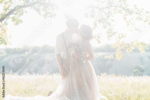 wedding couple on  nature.  bride and groom hugging against the sun at wedding.