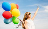 happy girl in sunglasses with air balloons - 162258560