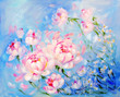 Blooming pink peonyon blue background. Oil painting on canvas - 162265700