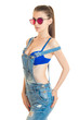 vertical portrait slim sexy women in bright glasses bra and jeans jumpsuit