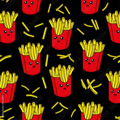 Fototapeta Cute kids pattern for girls and boys. Colorful french fries on the abstract grunge background create a fun cartoon drawing.The background is made in neon colors. Urban backdrop for textile and fabric.