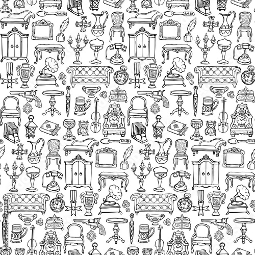 Antiques Doodle Seamless Pattern