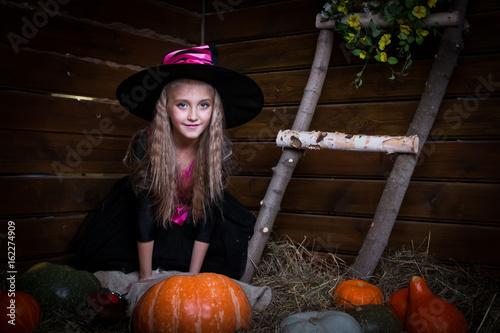 Plakát Cute little girl witch
