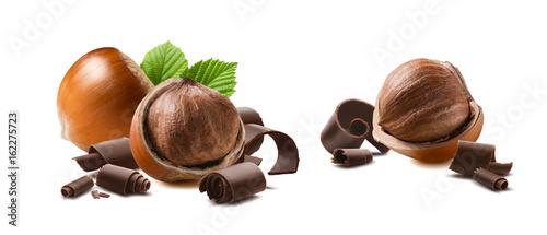 obraz lub plakat Hazelnut chocolate curls 2 isolated on white background