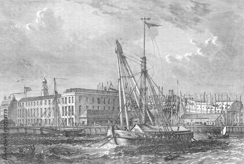 Poster Docks - Deptford - 1810. Date: circa 1810