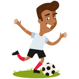 Smiling asian cartoon footballer wearing white shirt and black shorts about to kick the ball isolated on white background.
