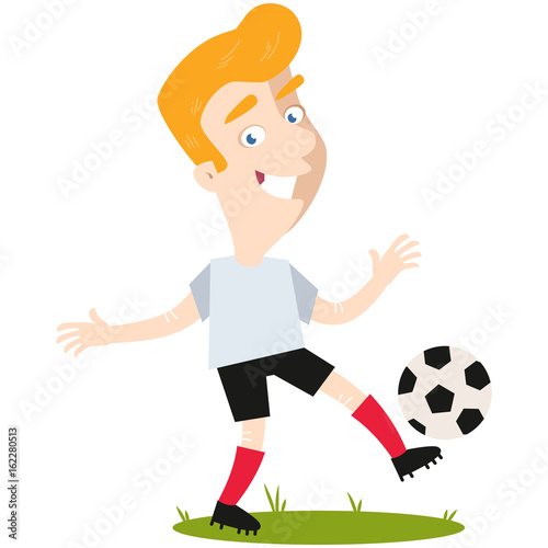 Smiling blond caucasian cartoon soccer player wearing white shirt and black shorts kicking football isolated on white background