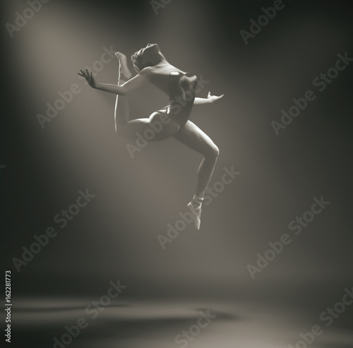 Young and beautiful ballerina This is a 3d render illustration. - 162281773