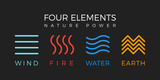 Four elements simple line symbol. Vector logo template. Wind, fire, water, earth sign. - 162291721