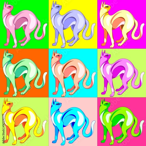 Deurstickers Draw Cat Pop Art Rainbow Colors