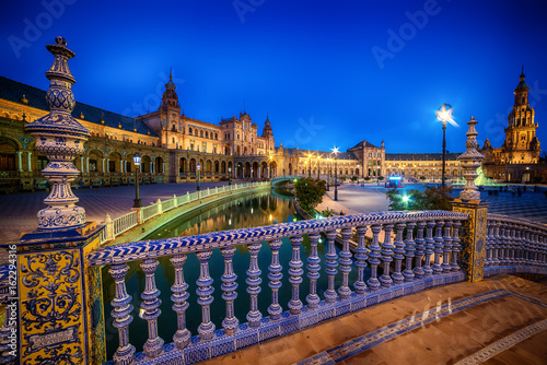 Seville, Spain: The Plaza de Espana, Spain Square in sunset