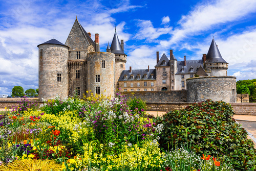 Beautiful medieval castle Sully-sul-Loire. famous Loire valley river in France