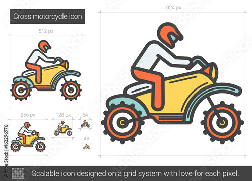 Cross motorcycle line icon.