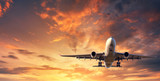 Fototapety Landing airplane. Landscape with white passenger airplane is flying in the blue sky with clouds at colorful sunset. Travel background. Passenger airliner. Business trip. Commercial aircraft. Concept
