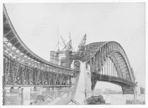 Fotobehang Sydney Sydney Harbour Bridge construction. Date: 1931