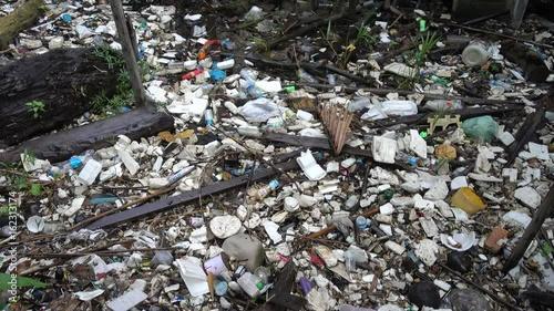 In de dag Stenen Garbage on shore in mangroves, Samut Prakan, Thailand.