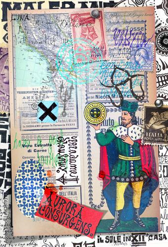 Foto op Plexiglas Imagination Manoscritti misteriosi con disegni,tarocchi,ritagli e collage esoterici,astrologici e alchemici