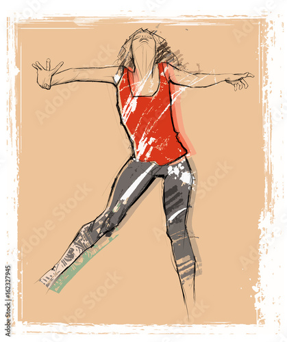 Woman dancing over a grunge background