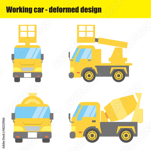 働く車のイラスト|高所作業車・ミキサー車 - 162329166