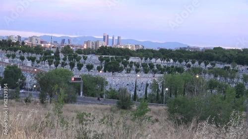 Landscape of the city of madrid sunrise