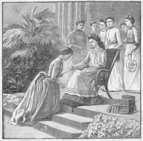 May Queen Gives Books. Date: 1889 Poster