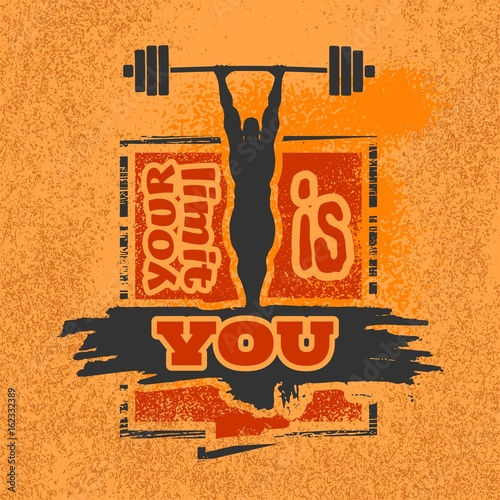 Bodybuilder and huge barbell silhouettes Poster