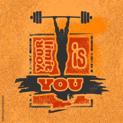 Plakát Bodybuilder and huge barbell silhouettes