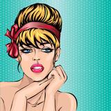 Pin up stylu sexy kobieta pi? Kna portret, pop sztuki komiksowa dziewczyna patrz? C do przodu ilustracji wektorowych