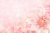 Fototapety Summer blossoming dahlia, flower bokeh background, pastel and soft floral card