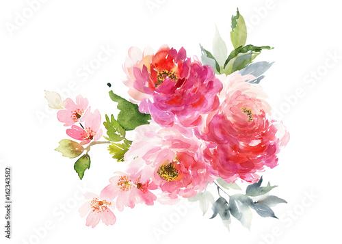 Staande foto Roses Greeting card with watercolor flowers handmade.