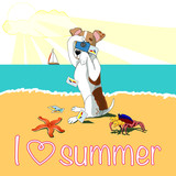 Bright Tropical Beach Summer Vacation Poster