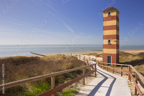 Lighthouse in the dunes at Dishoek, The Netherlands
