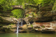 Waterfall and bridge in Hocking Hills State Park, Ohio, USA - 162352924