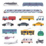 Fototapety Different municipal transportation set. Vector illustrations of cars